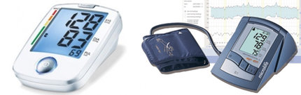 Digitální tlakoměry mohou být buď pažní (vpravo), nebo zápěsťový (vlevo)