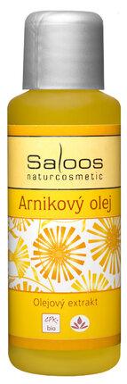 Pokožku regeneruje a zklidňuje, výborně prokrví svaly a pomůže zmírnit případné otoky a pohmožděniny nohou – Arnikový olej, Saloos, 132 Kč.