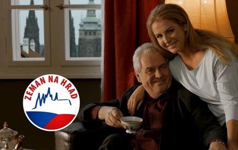 Kačenka Zemanová objímá taťku ve volebním spotu.