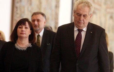 Ivana Zemanová a Miloš Zeman na Hradě.