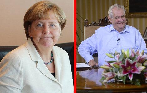 Angela Merkelová se blíží a Miloš Zeman se na ni chystá...
