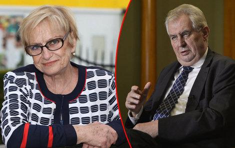 Věra Čáslavská neměla Miloše Zemana ráda.