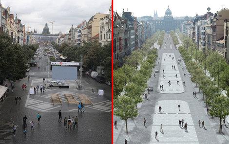 Nyní je v prostoru široká silnice a obrovské květníky. Nově budou stromy ve dvou řadách a více prostoru pro chodce.