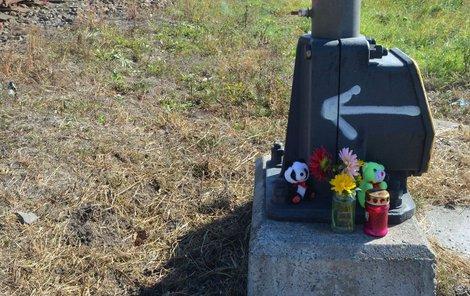 Na místě neštěstí jsou plyšáci, svíčka a květiny.