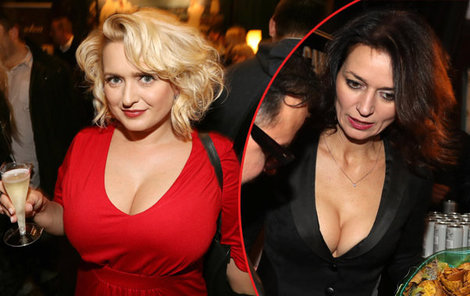 Obě herečky upoutaly pozornost bujnými dekolty.