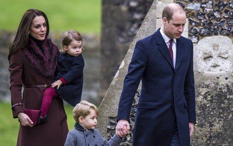Rodinka prince Williama míří do kostela.