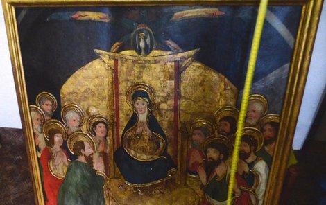Gotický tabulový obraz Trůnící Panna Marie a zástup svatých, který byl malován temperou na topolovém dřevě. Hodnota je 15 – 20 milionů.