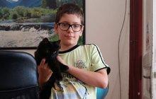 Filip (12) zachránil hluchého kocourka: Zbídačený Felix křičel v křoví!