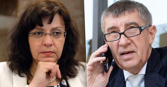 Ministryně práce a sociálních věcí Michaela Marksová (ČSSD) a ministr financí Andrej Babiš (ANO)