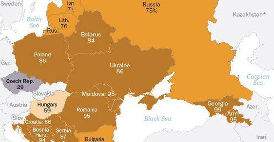 Kolik procent lidí věří v Boha v jednotlivých státech střední a východní Evropy.