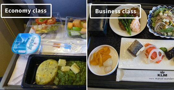 Luxus versus bída v oblacích. Jaký je rozdíl mezi jídlem v ekonomické a první třídě?