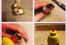 2. Naplňte velikonoční čokoládové zajíčky kečupem nebo hořčicí.