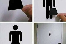 3. Prohoďte značky na záchodě.