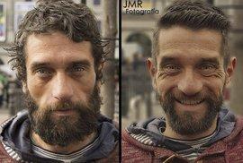 Madridská charita: Holiči dělají z bezdomovců hipstery