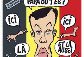 """Titulka týdeníku Charlie Hebdo, který vyšel týden po atentátu: """"Tati, kde jsi?"""", """"Tady jsem"""", """"a tady"""" """" a tady taky""""..."""