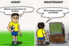"""Jak se hrál fotbal dříve: """"Mami, jdu hrát fotbal!"""" / Jak se hraje dnes: """"Ale mami, já teď hraju fotbal..."""""""