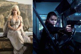 Emilia Clarke: Vlevo Hra o trůny, vpravo Terminátor: Genisys.