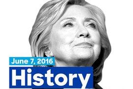 """Hillary Clintonová už se vidí, jak """"přepisuje dějiny""""."""
