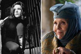 Diana Rigg jako Emma Peel (rok 1961 - The Avengers) a jako Olenna Tyrrel ve Hře o trůny.