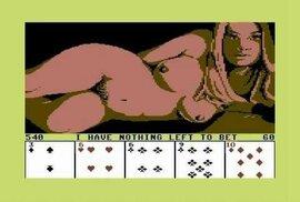 K prvním erotickým hrám patřily svlíkací pokery. Zde verze pro Commodore 64 (1984).