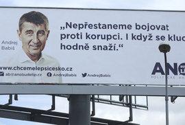 Billboard ANO ke krajským a senátním volbám 2016.