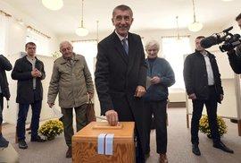Andrej Babiš u krajských voleb (7.10.2016)