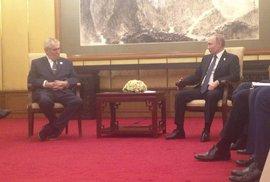 Prezident Miloš Zeman na setkání s Vladimirem Putinem