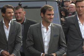 Tenisové hvězdy v Praze. Podívejte se, jak vypadal příjezd Federera, Nadala a spol.