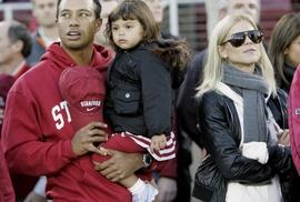 Tiger Woods s jeho manželkou Elin a dcerou Sam
