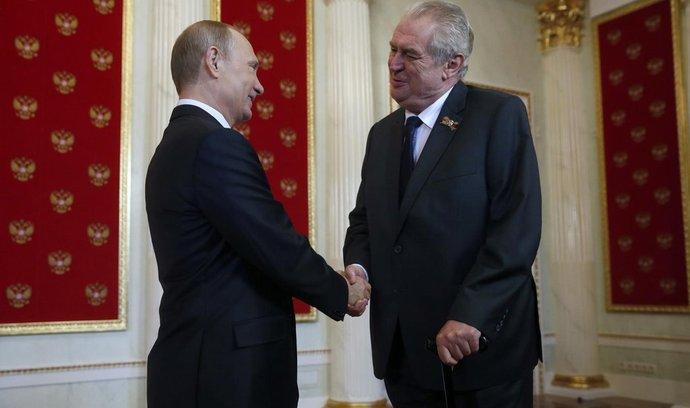Miloš Zeman a Vladimir Putin při setkání v Moskvě