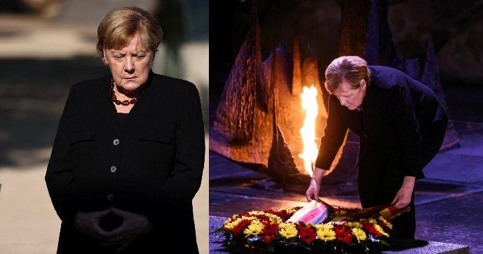 Končící Merkelová dojatá slzám u památníku obětí holocaustu. A překvapení v Izraeli