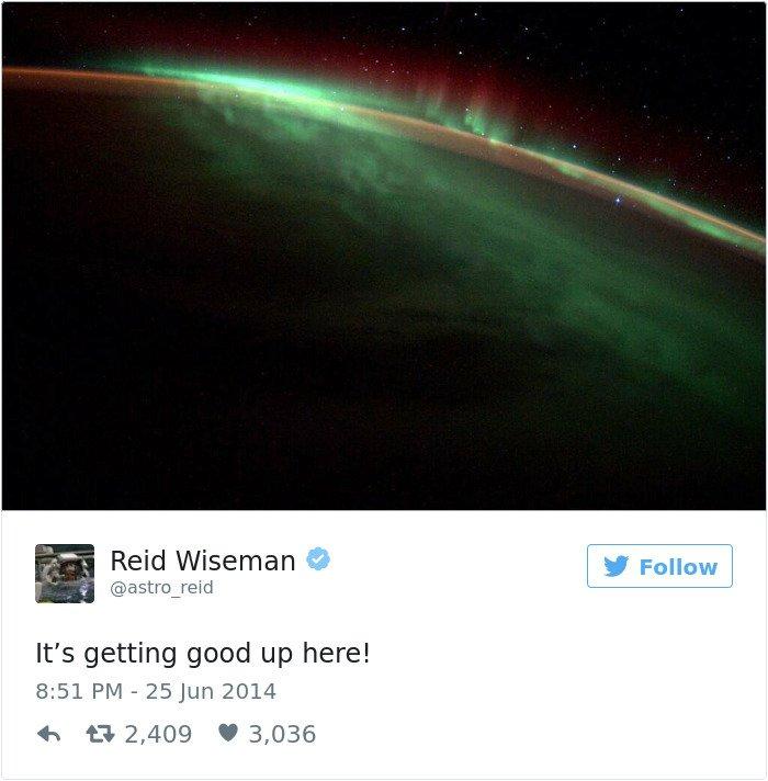 Astronaut Reid Wiseman ze svého pobytu na ISS odeslal sérii nádherných tweetů.