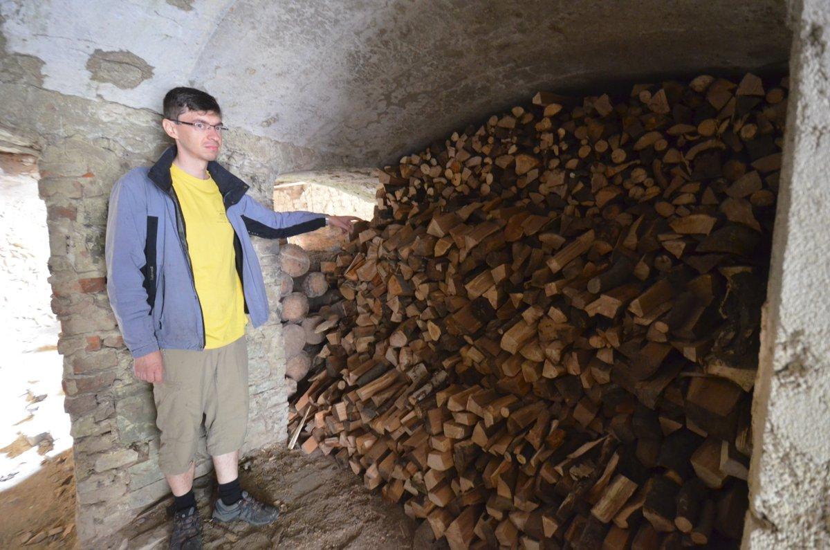 Petr Matyáš ukazuje hromadu dřeva, kterou děti nachystaly do zásoby pro nadcházející zimu.