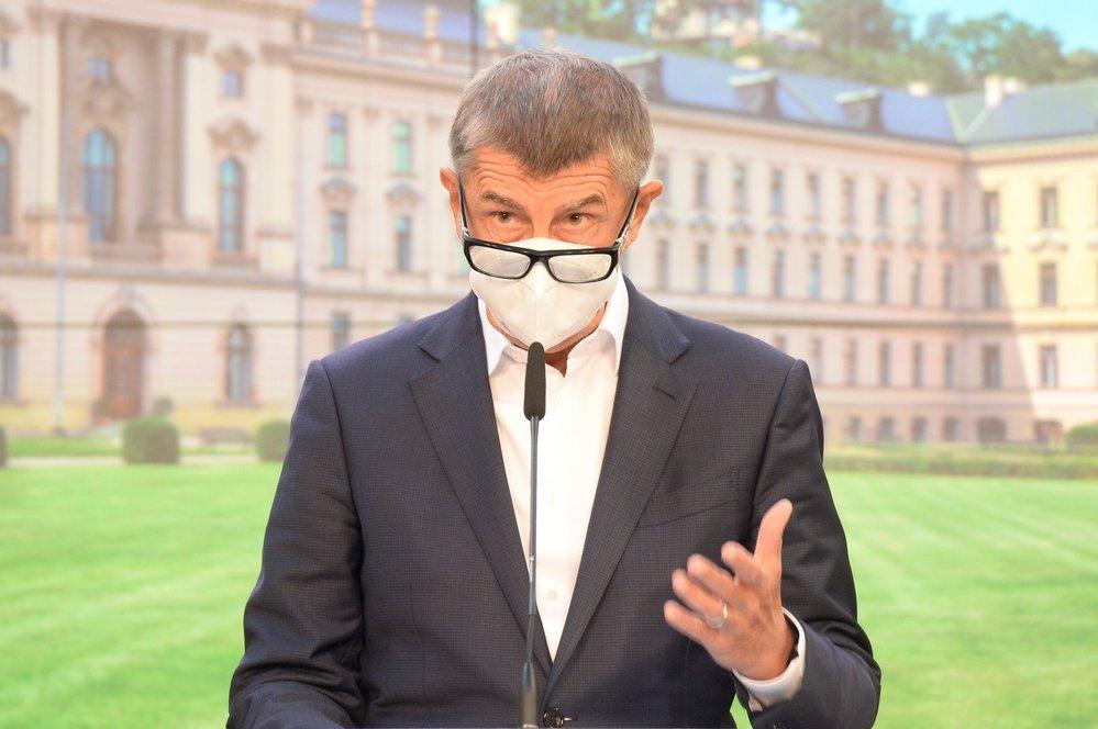 Premiér Andrej Babiš (ANO) na tiskové konferenci po jednání vlády