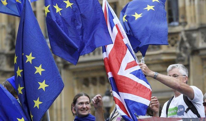 Lidé protestují proti brexitu.