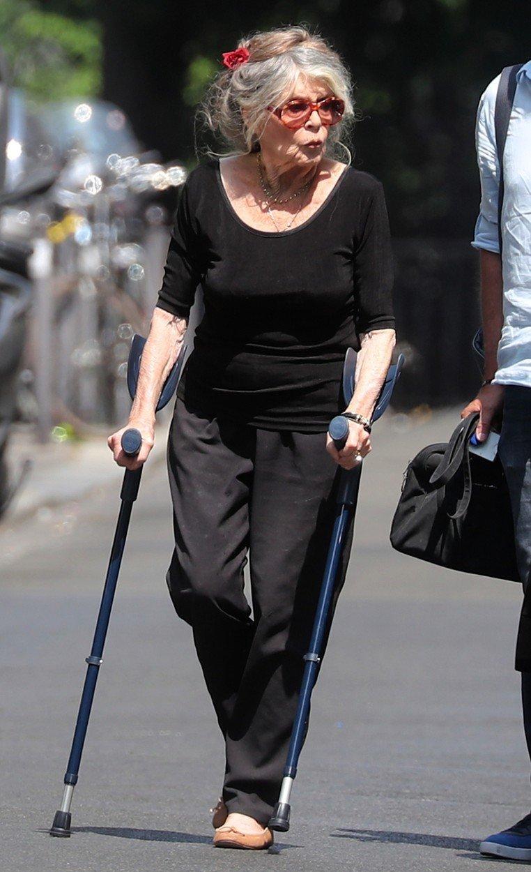 Bardotka musí při chůzi požívat jako podporu hole.