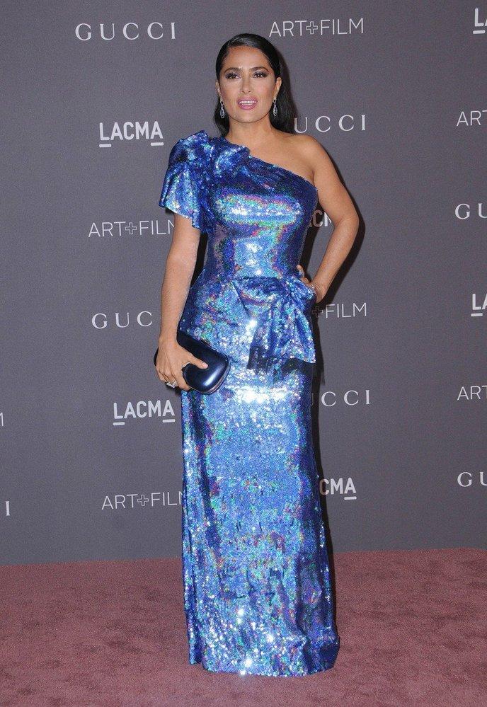 Salma Hayek v šatech Gucci