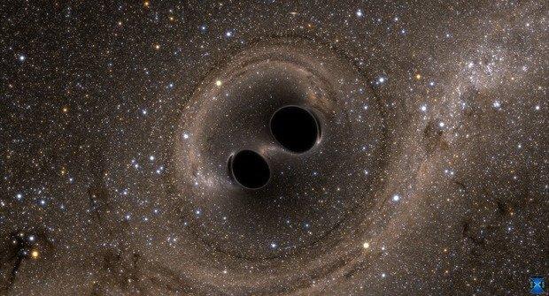 Dvě do jedné! Spojení černých děr