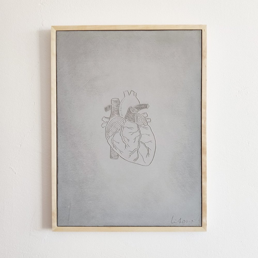 Betonový obraz s motivem srdce, Litone, 4000 Kč, www.litone.cz