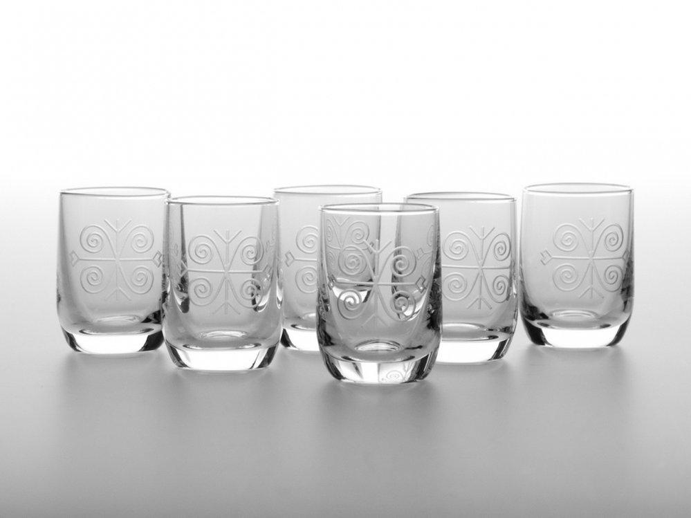 Sada 6 sklenic Ľudové štamprle (30 ml), Atelier Žampach, 870 Kč, www.zampach.com
