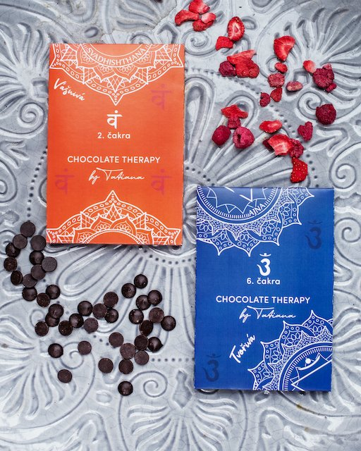 Čokoládová terapie vytvořená podle 7 čaker Taťánou Gregor Brzobohatou, Pražská čokoláda, 188 Kč/ks, www.prazskacokolada.cz
