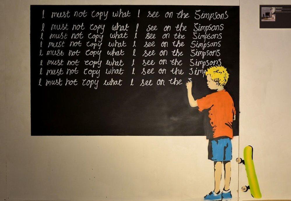 Neautorizovaná výstava kopií a reprodukcí The World of Banksy ve výstavní síni Mánes - dílo vzdávající hold kultovnímu seriálu Simpsonovi