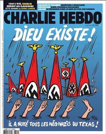Oběti hurikánu v USA jako neonacisté na obálce Charlie Hebdo.