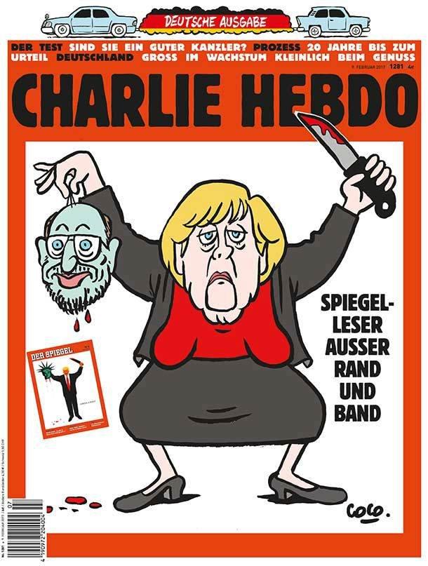 Angela Merkelová jako bojovník Islámského státu.