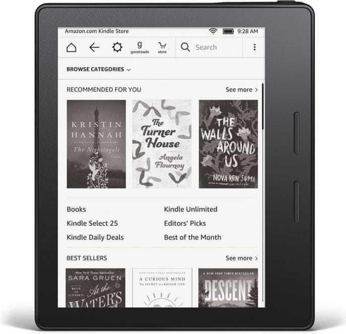 """Elektronická čtečka knih Amazon Kindle Oasis 7"""". Amazon. Paměť: 8 GB. Hmotnost: 194 g. 7 249 Kč. www.mall.cz"""