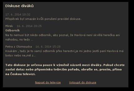 Ukázka diskuse z webu ČT, kterou přetiskly Krajské listy.