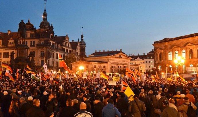 Demonstrace hnutí Pegida v Drážďanech (ilustrační foto)