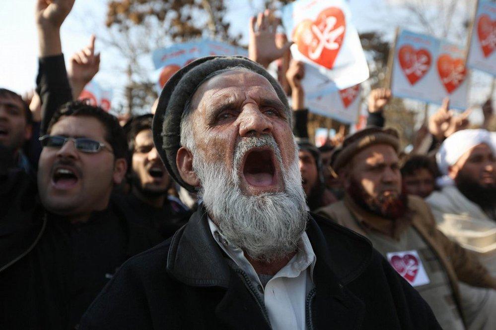 Demonstrace proti francouzskému časopisu Charlie Hebdo v afghánském Kábulu