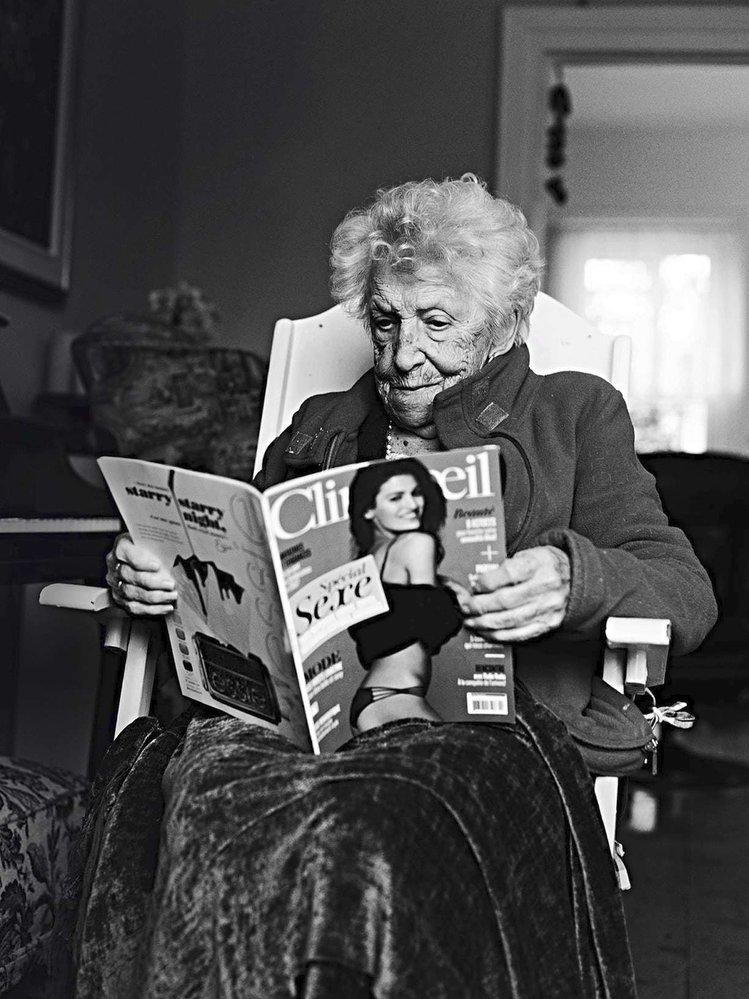 """""""Můj muž byl moc krásný, měl nádherné vlnité vlasy a vkusně se oblékal. Na druhou stranu hodně pil a miloval ženy. Ale je důležité odpouštět.""""  Anne-Marie Pronovost, 101 let, Sutton, 2016"""