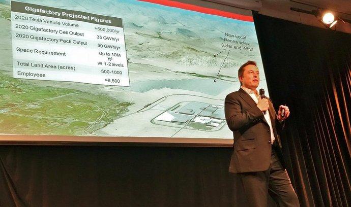 Elon Musk při prezentaci gigatovárny (foto z června 2014)
